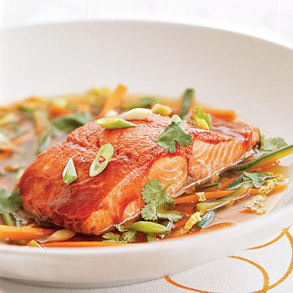 Hoisin-glazed Wild Alaska Salmon in Ginger Broth