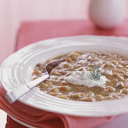 Rhubarb-Lentil Soup with Crème Fraîche