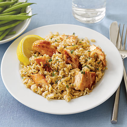 Lemony Chicken Breasts with Rice