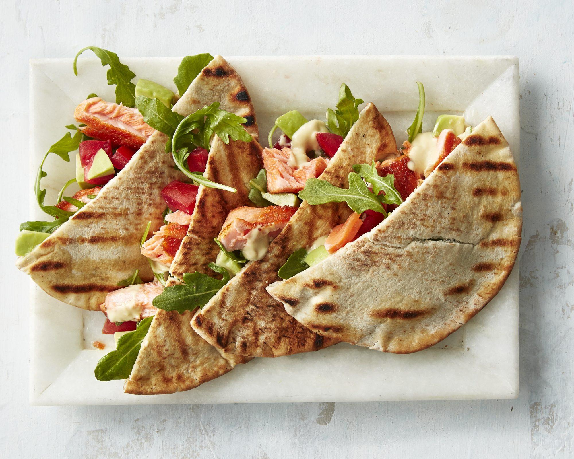 Grilled Salmon Avocado Pitas
