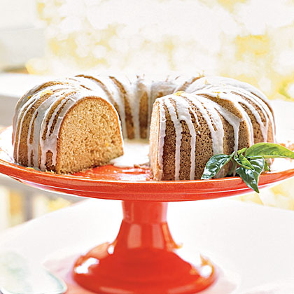 Pound Cake with Lemon-Basil Glaze