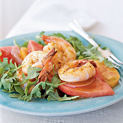 Shrimp, Tomato, and Watermelon Salad