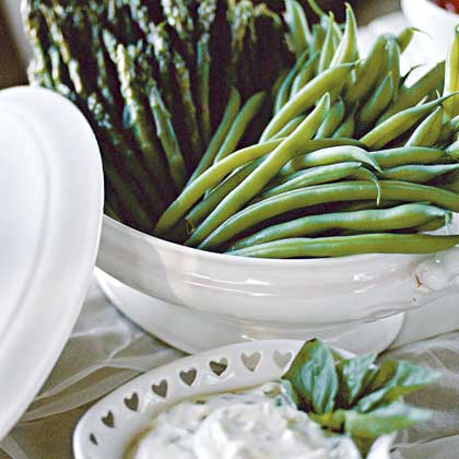 Steamed Asparagus and Green Beans With Fresh Lemon-Basil Dip