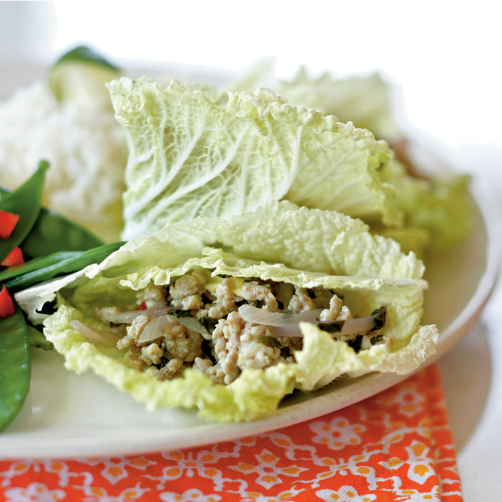 Thai Chicken in Cabbage Leaves