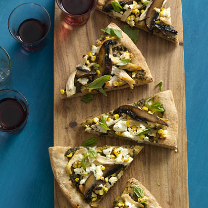 Chicken and Goat Cheese Pizza With Fresh Herbs