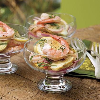 Marinated Lemon Shrimp and Artichokes