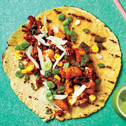 Potato, Poblano, and Chorizo Tacos
