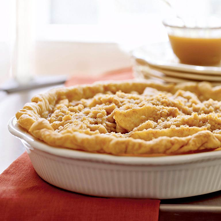 Pear Pie with Streusel Topping and Caramel Sauce