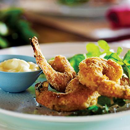 Crispy Shrimp with Arugula and Lemony Mayo