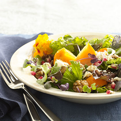Persimmon and Blue Cheese Salad With Walnuts