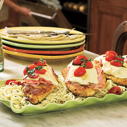 Pan-Fried Chicken-and-Ham Parmesan