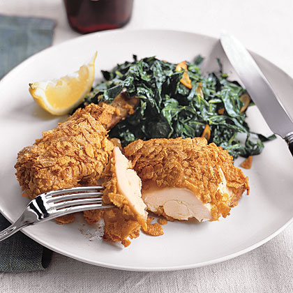 Crispy Chicken and Garlicky Collards