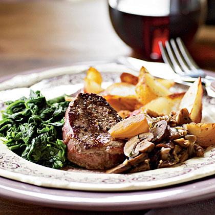 Grass-Fed Beef Tenderloin Steaks with Sautéed Mushrooms