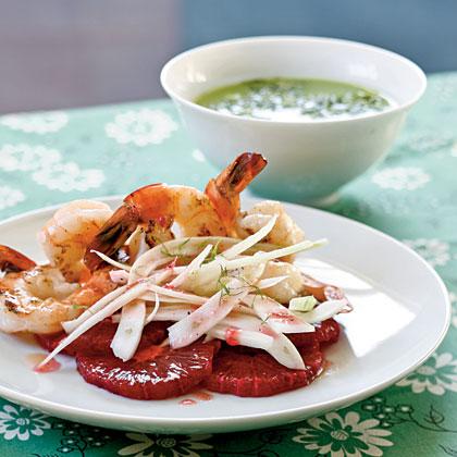 Shrimp Salad with Blood Oranges and Slivered Fennel
