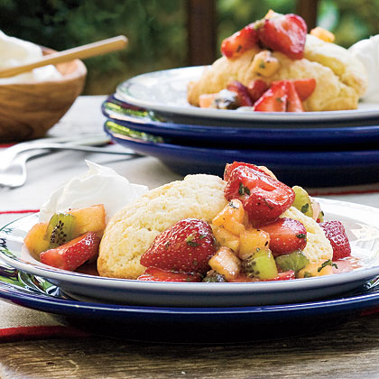 Strawberry-Fruit Toss With Cornmeal Shortcakes