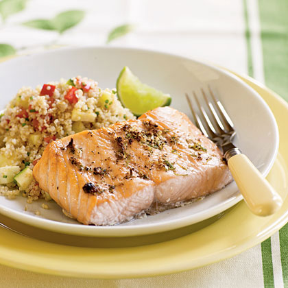 Broiled Salmon with Peppercorn-Lime Rub