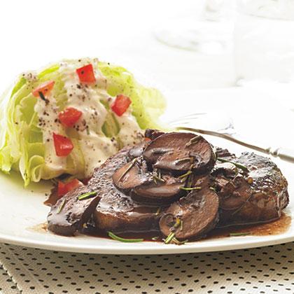 Beef Tenderloin Steaks with Red Wine-Mushroom Sauce