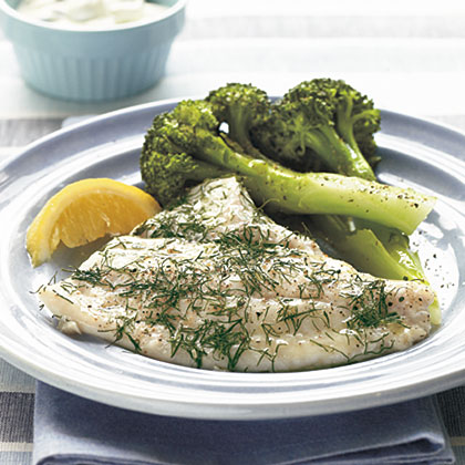 Baked Flounder with Dill and Caper Cream