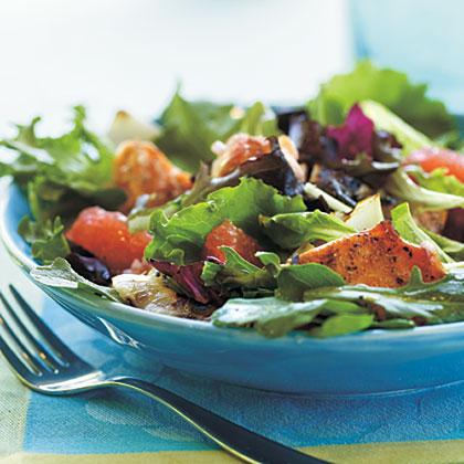 Grilled Salmon and Grapefruit Salad with Blood Orange Vinaigrette