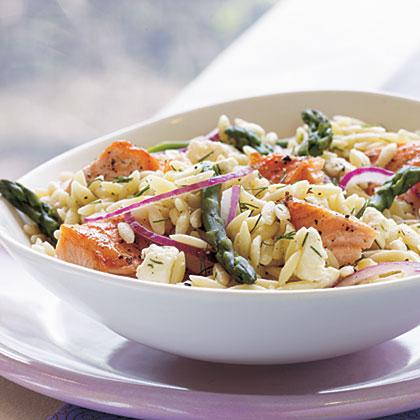 Salmon, Asparagus, and Orzo Salad with Lemon-Dill Vinaigrette
