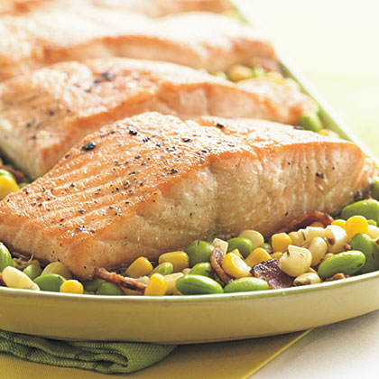 Seared Salmon Fillets with Edamame Succotash