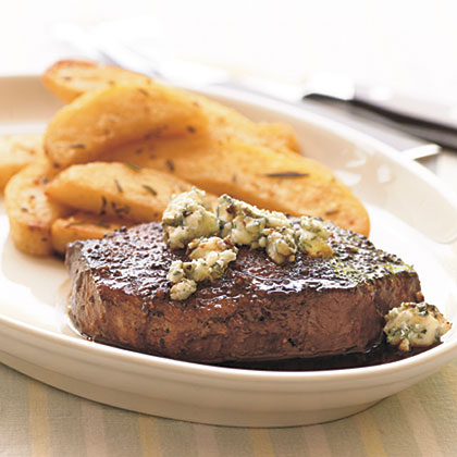 Seared Beef Tenderloin Steaks with Dark Beer Reduction and Blue Cheese