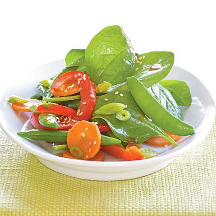 Asian Snap Pea Salad with Sesame-Orange Dressing
