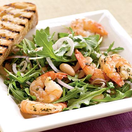 Roasted Rosemary Shrimp with Arugula and White Bean Salad