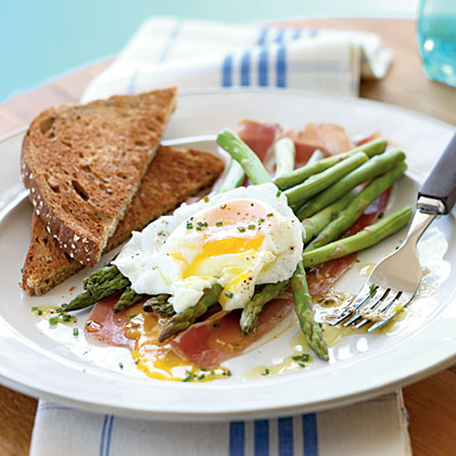 Asparagus Salad with Soft Poached Eggs, Prosciutto, and Lemon-Chive Vinaigrette