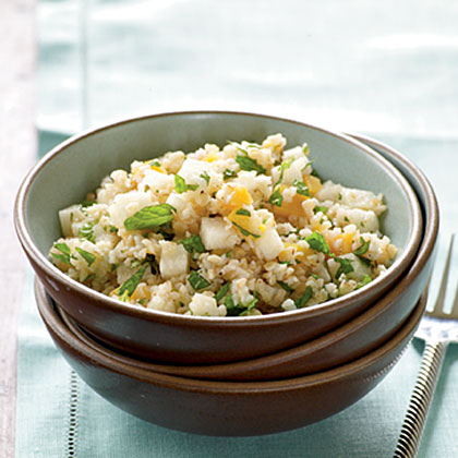 Minty Bulgur Wheat and Peach Salad