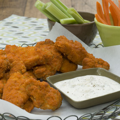 Buffalo-Seasoned Chicken Fingers With Blue Cheese Dipping Sauce