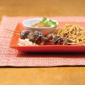 Grilled Beef Satay with Asian Lo Mein