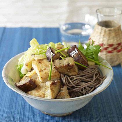 Miso-Marinated Tofu and Eggplant Over Soba Noodles