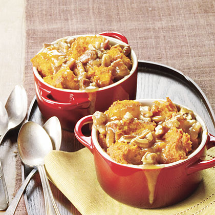 Caramel-Pecan-Pumpkin Bread Puddings