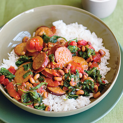 Spicy Turkey Sausage With Black-Eyed Peas and Spinach