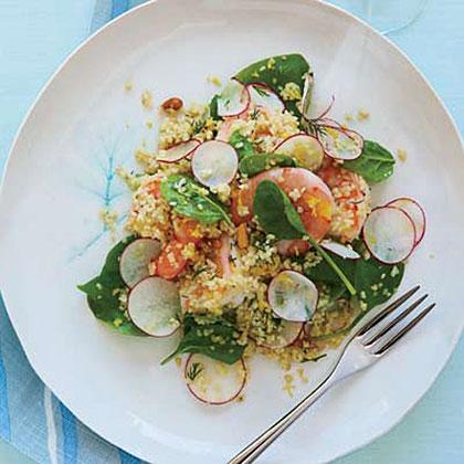 Lemony Bulgur Salad with Shrimp and Spinach