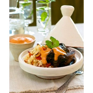 Spicy Almond Yogurt Sauce with Braised Beef Short Ribs and Couscous