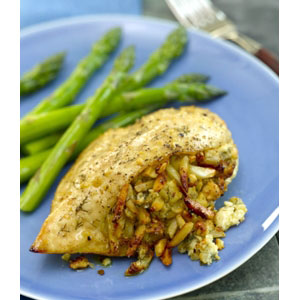 Stuffed Chicken Breasts with Apples, Almonds and Blue Cheese