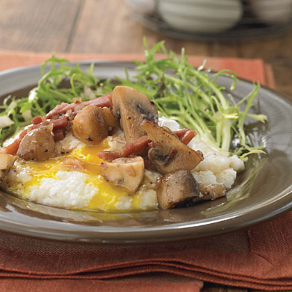 McEwen & Sons Grits with Poached Eggs and Country Ham