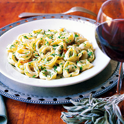 Tortellini with Garlic Sage Butter Sauce