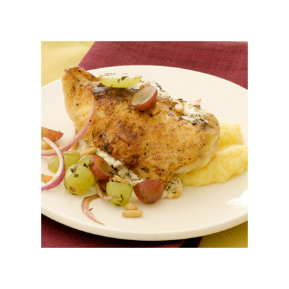 Chicken with Grapes, Goat Cheese & Pine Nuts