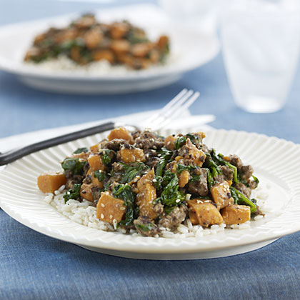 Beef with Sweet Potatoes and Spinach