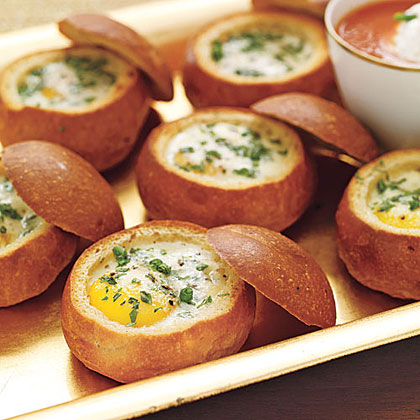Baked Eggs in Bread Bowls