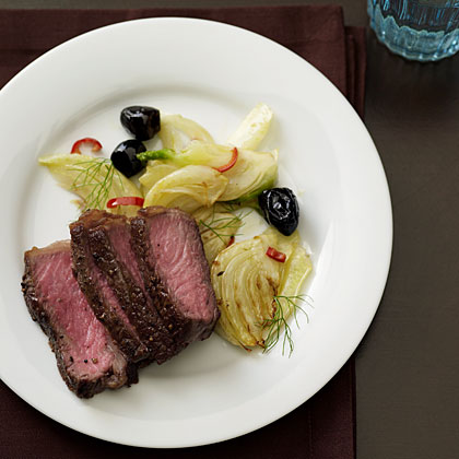 Steak with Sautéed Fennel and Olives