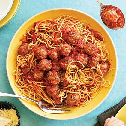 Campanile's Spaghetti and Meatballs in Red Sauce