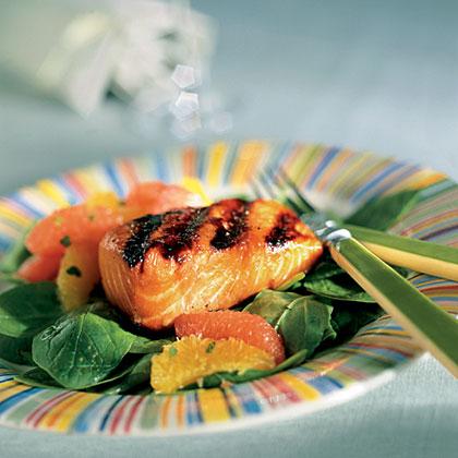 Honeyed Salmon Over Minted Citrus Salad