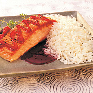 Raspberry Salmon with Ginger Rice