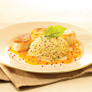 Seared Diver Scallops with Thai Flavored Jasmine Rice
