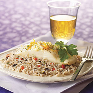 Baked Halibut with Olive Tapenade Pilaf and Citrus Butter