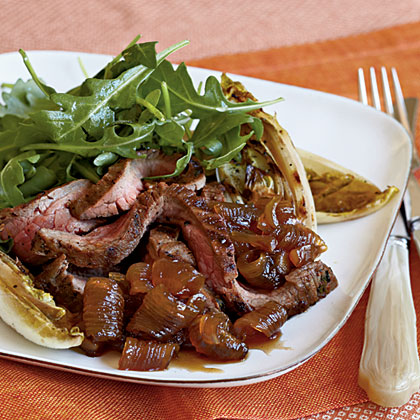 Flank Steak with Roasted Endive, Spring Onion Agrodolce, and Arugula